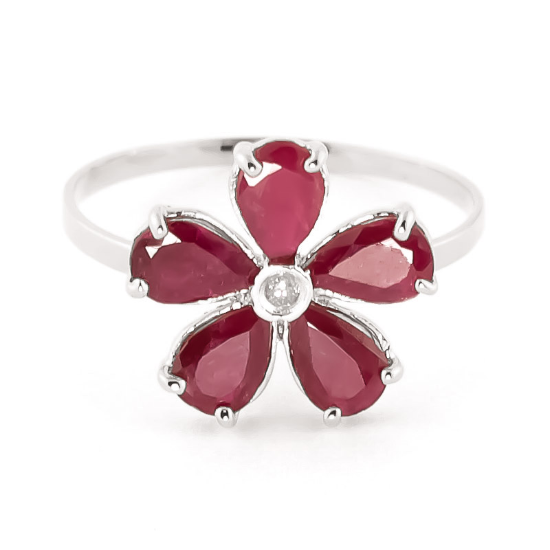 Ruby & Diamond Five Petal Ring in 18ct White Gold