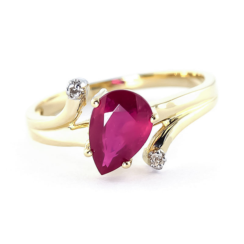 Ruby & Diamond Flank Ring in 18ct Gold