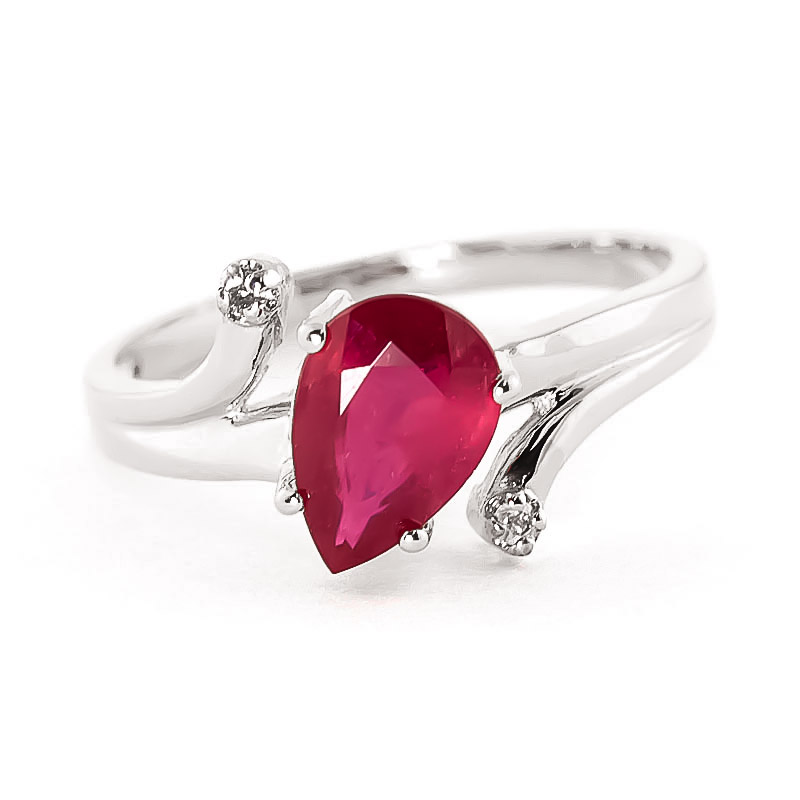 Ruby & Diamond Flank Ring in 18ct White Gold