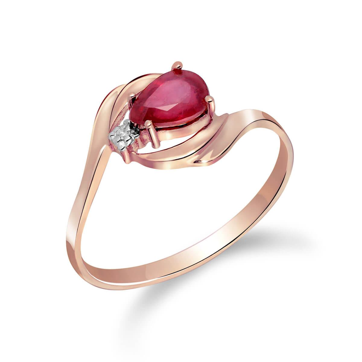 Ruby & Diamond Flare Ring in 18ct Rose Gold