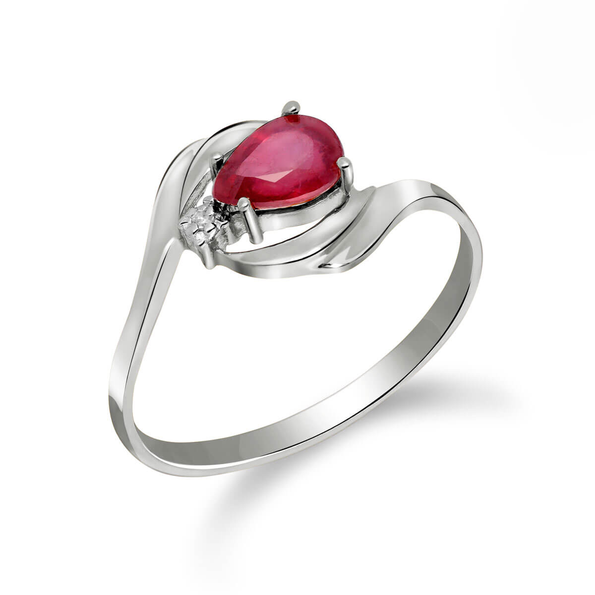 Ruby & Diamond Flare Ring in 9ct White Gold