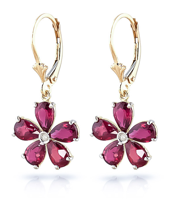 Ruby & Diamond Flower Petal Drop Earrings in 9ct Gold