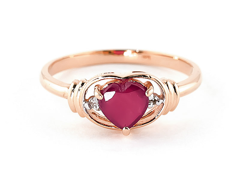 Ruby & Diamond Halo Heart Ring in 18ct Rose Gold
