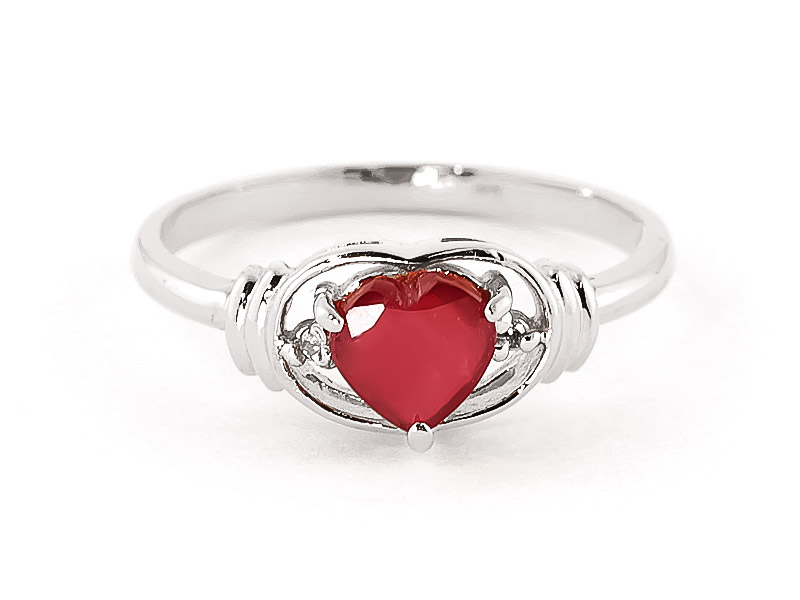 Ruby & Diamond Halo Heart Ring in Sterling Silver
