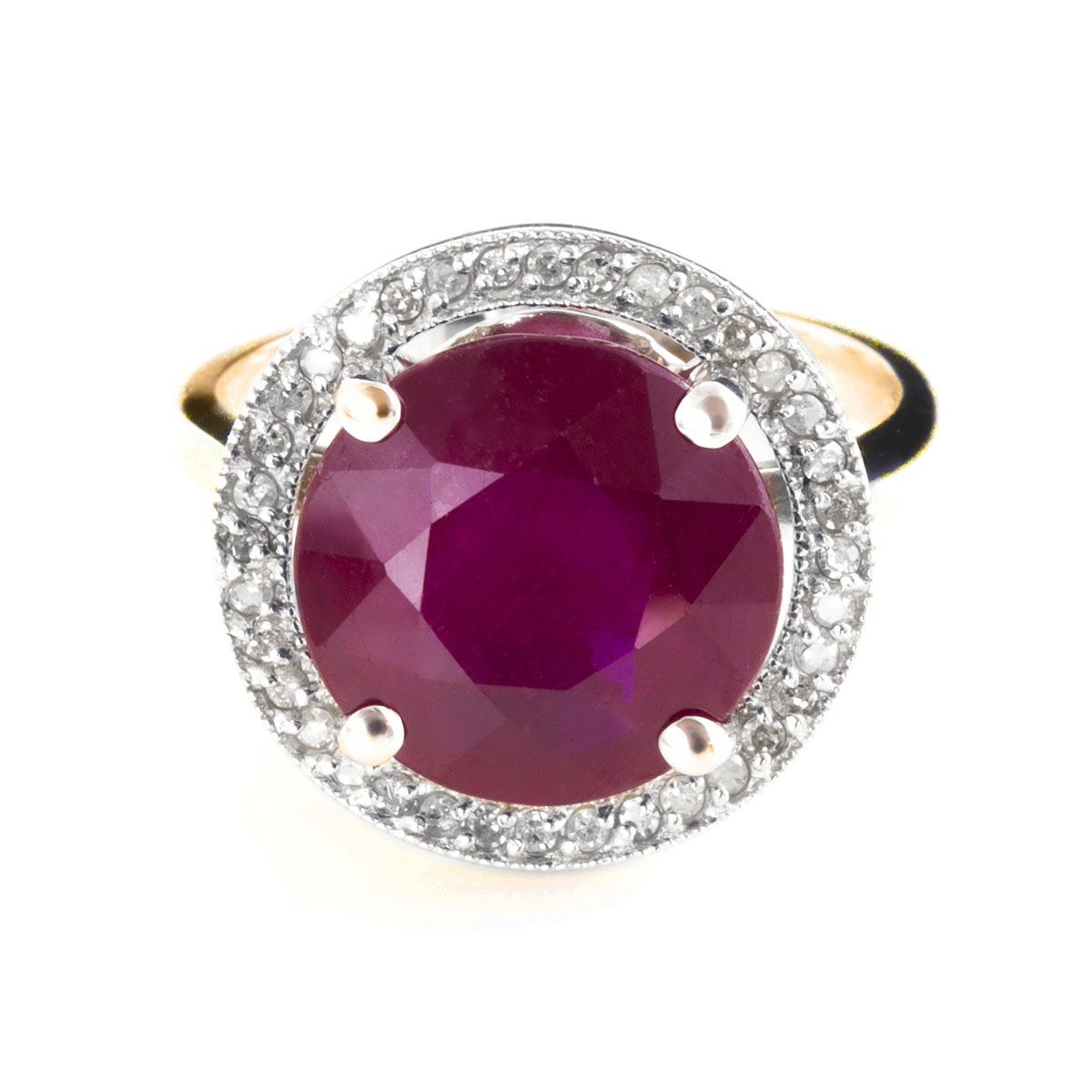 Ruby & Diamond Halo Ring in 9ct Gold
