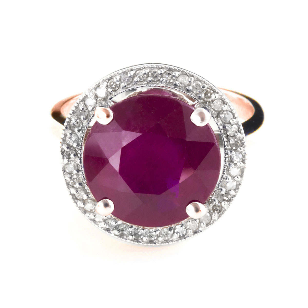 Ruby & Diamond Halo Ring in 18ct Rose Gold