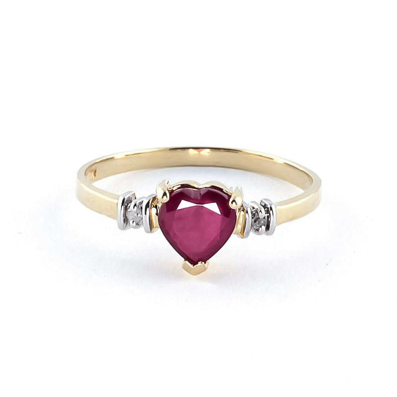 Ruby & Diamond Heart Ring in 9ct Gold