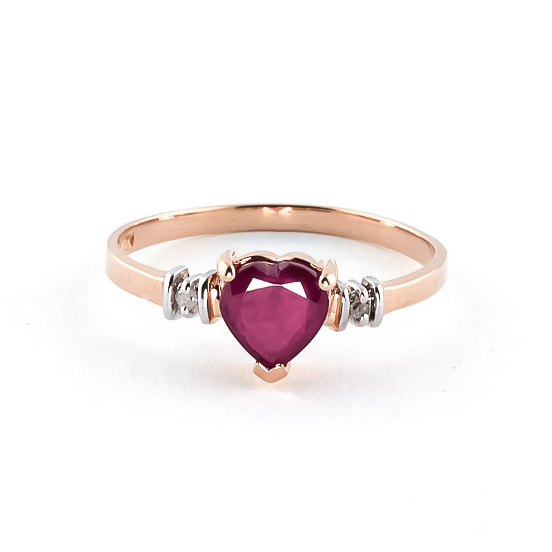 Ruby & Diamond Heart Ring in 9ct Rose Gold