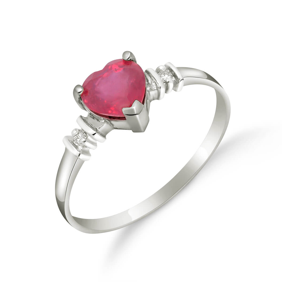 Ruby & Diamond Heart Ring in Sterling Silver