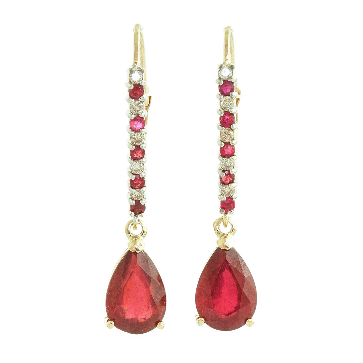 Ruby & Diamond Laced Stem Drop Earrings in 9ct Gold