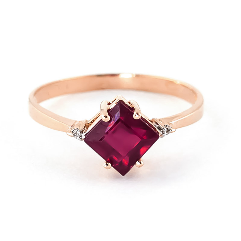 Ruby & Diamond Princess Ring in 18ct Rose Gold