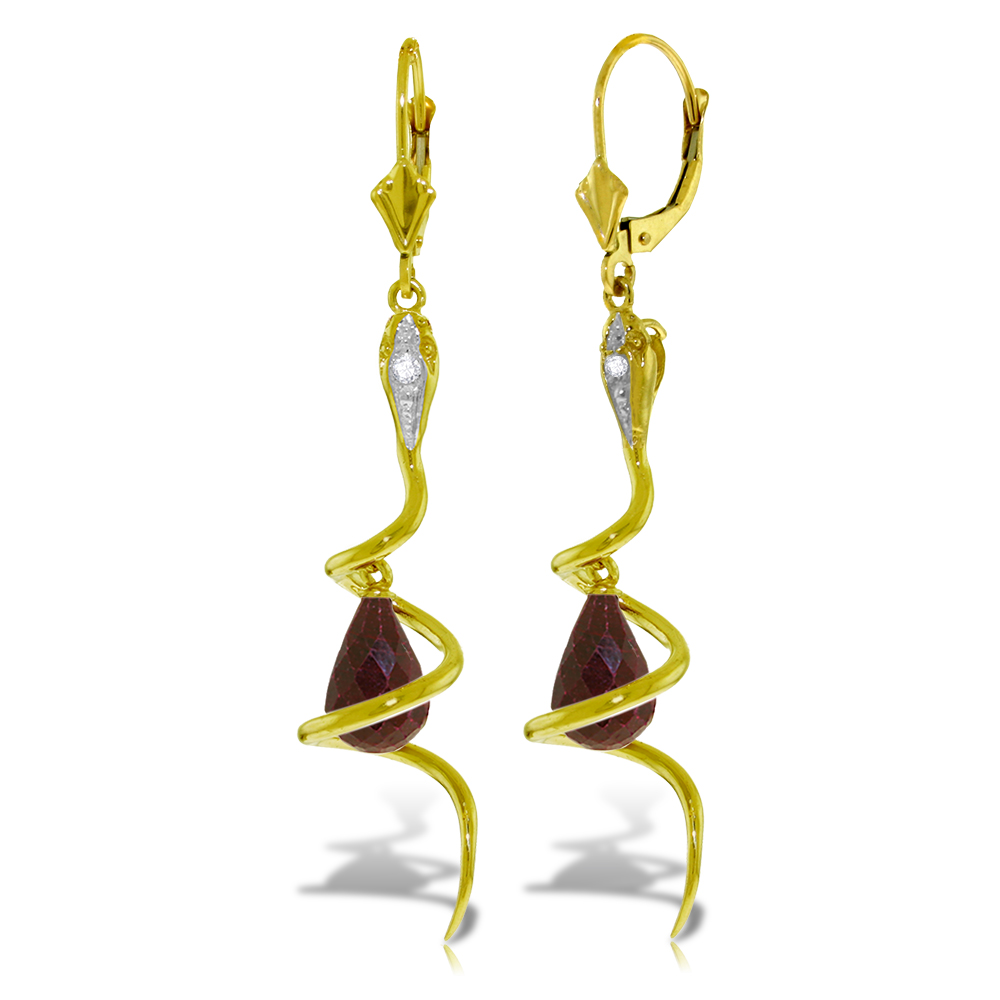 Ruby & Diamond Serpent Earrings in 9ct Gold