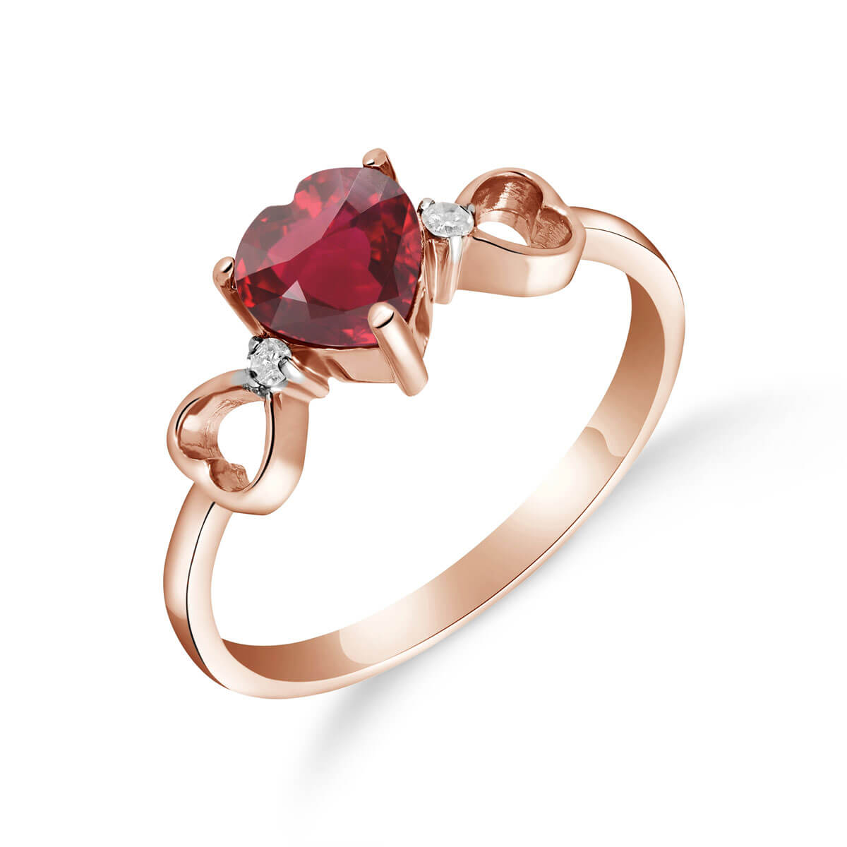 Ruby & Diamond Trinity Ring in 9ct Rose Gold