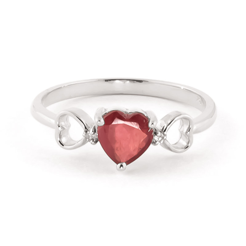 Ruby & Diamond Trinity Ring in 18ct White Gold