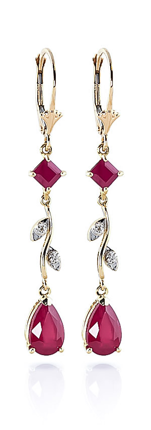 Ruby & Diamond Vine Branch Drop Earrings in 9ct Gold