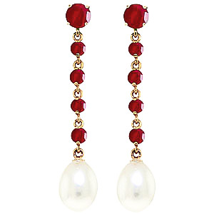 Ruby & Pearl by the Yard Drop Earrings in 9ct Gold