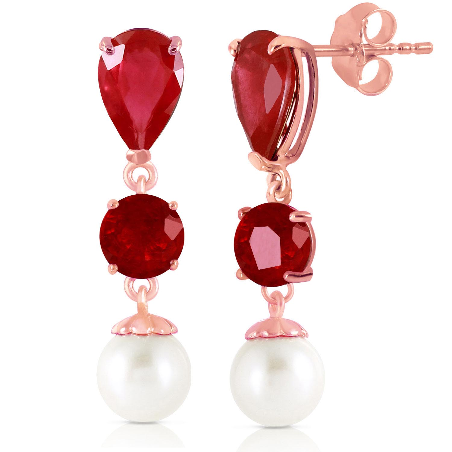 Ruby & Pearl Droplet Earrings in 9ct Rose Gold