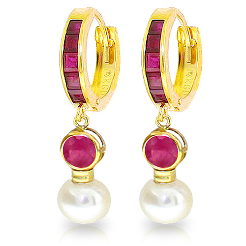 Ruby & Pearl Huggie Earrings in 9ct Gold