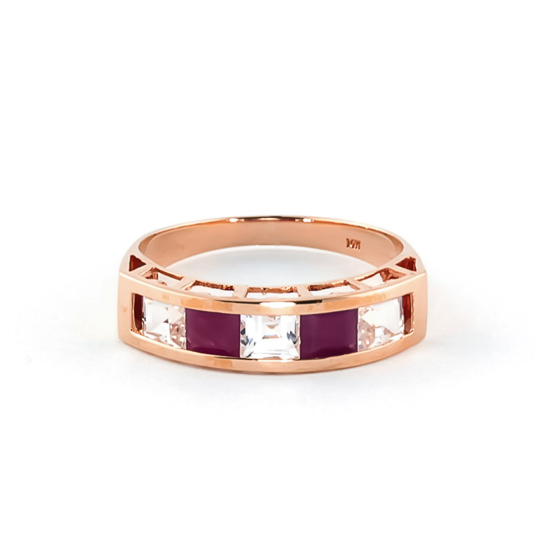 Ruby & White Topaz Prestige Ring in 9ct Rose Gold