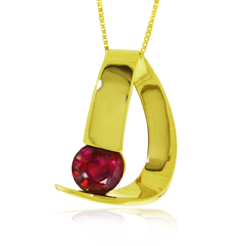 Women's Jewellery Ruby Arc Pendant Necklace 1.5 ct in 9ct Gold