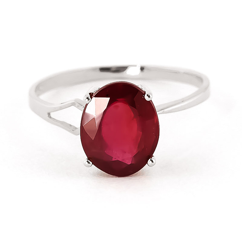 Ruby Claw Set Ring 3.5 ct in 18ct White Gold
