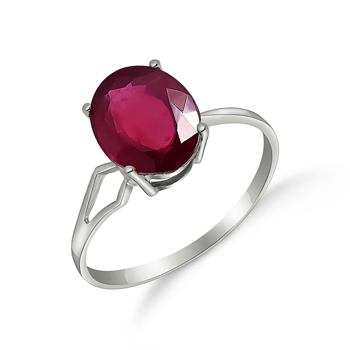 Ruby Claw Set Ring 3.5 ct in 9ct White Gold