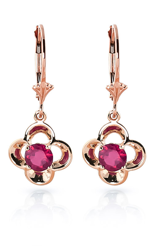 Ruby Corona Drop Earrings 1.1 ctw in 9ct Rose Gold