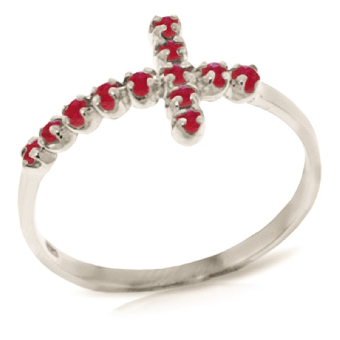 Ruby Cross Ring 0.3 ctw in 9ct White Gold