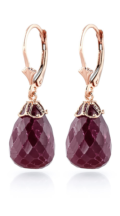 Ruby Crown Drop Earrings 29.6 ctw in 9ct Rose Gold