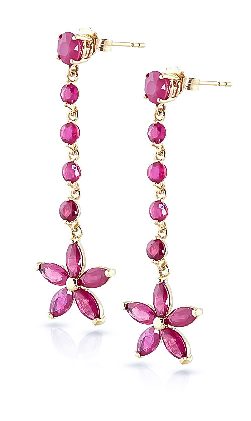 Ruby Daisy Chain Drop Earrings 4.8 ctw in 9ct Gold