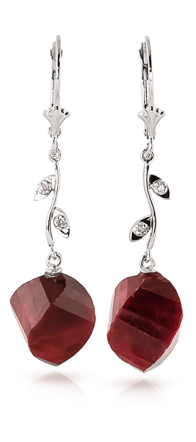Ruby Drop Earrings 30.52 ctw in 9ct White Gold