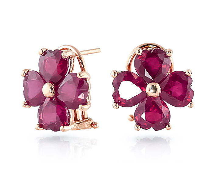 Ruby Flower Stud Earrings 7.2 ctw in 9ct Rose Gold