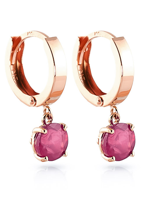 Ruby Huggie Drop Earrings 2.5 ctw in 9ct Rose Gold