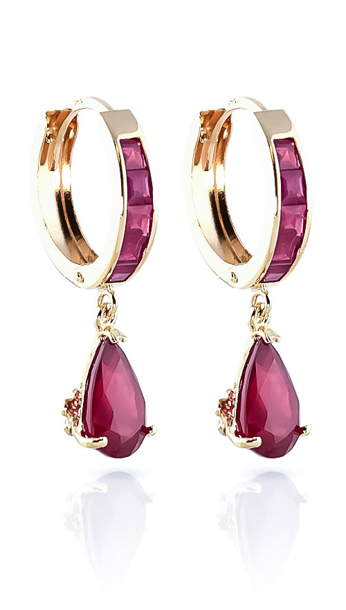 Ruby Huggie Drop Earrings 4.8 ctw in 9ct Gold
