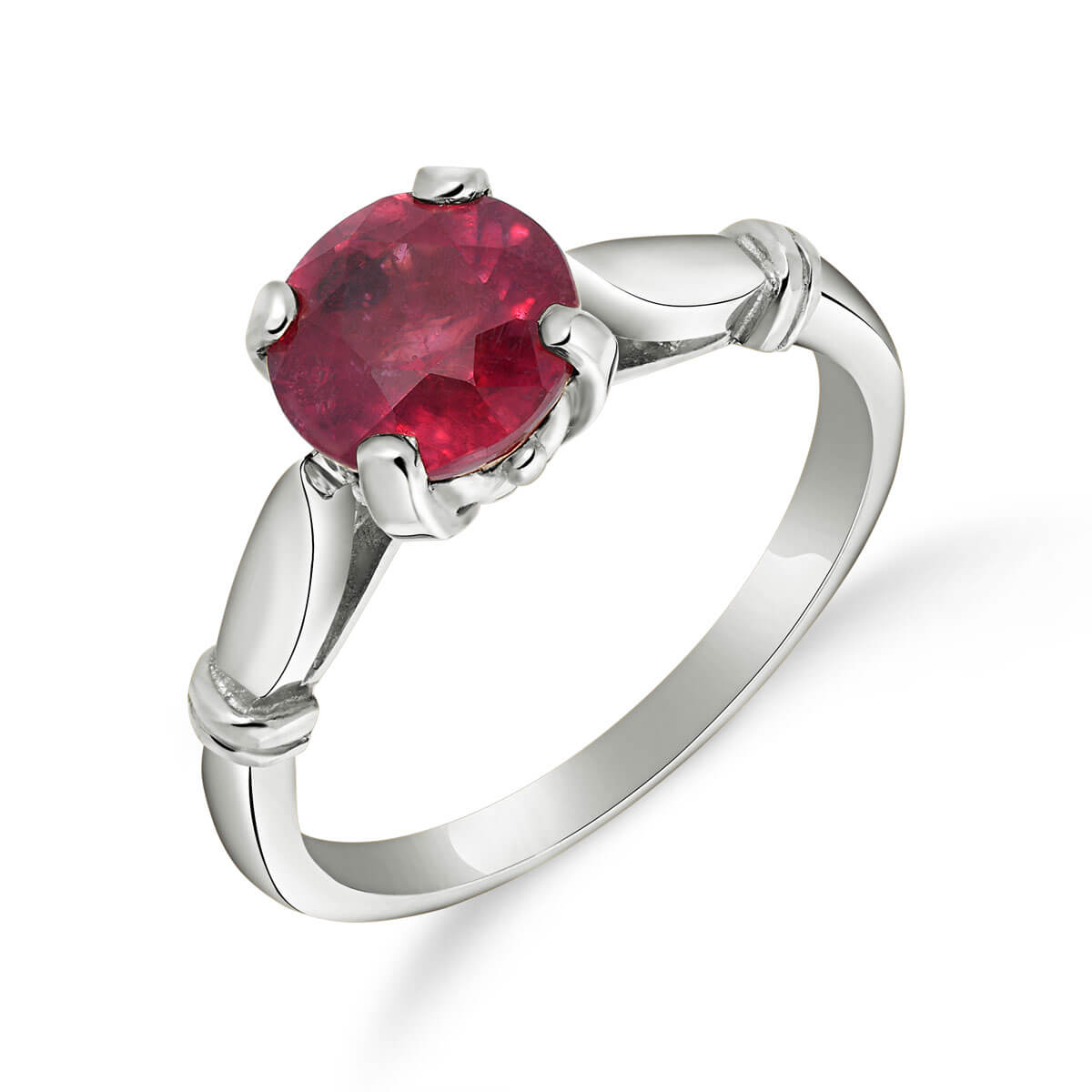 Ruby Solitaire Ring 2 ct in 18ct White Gold