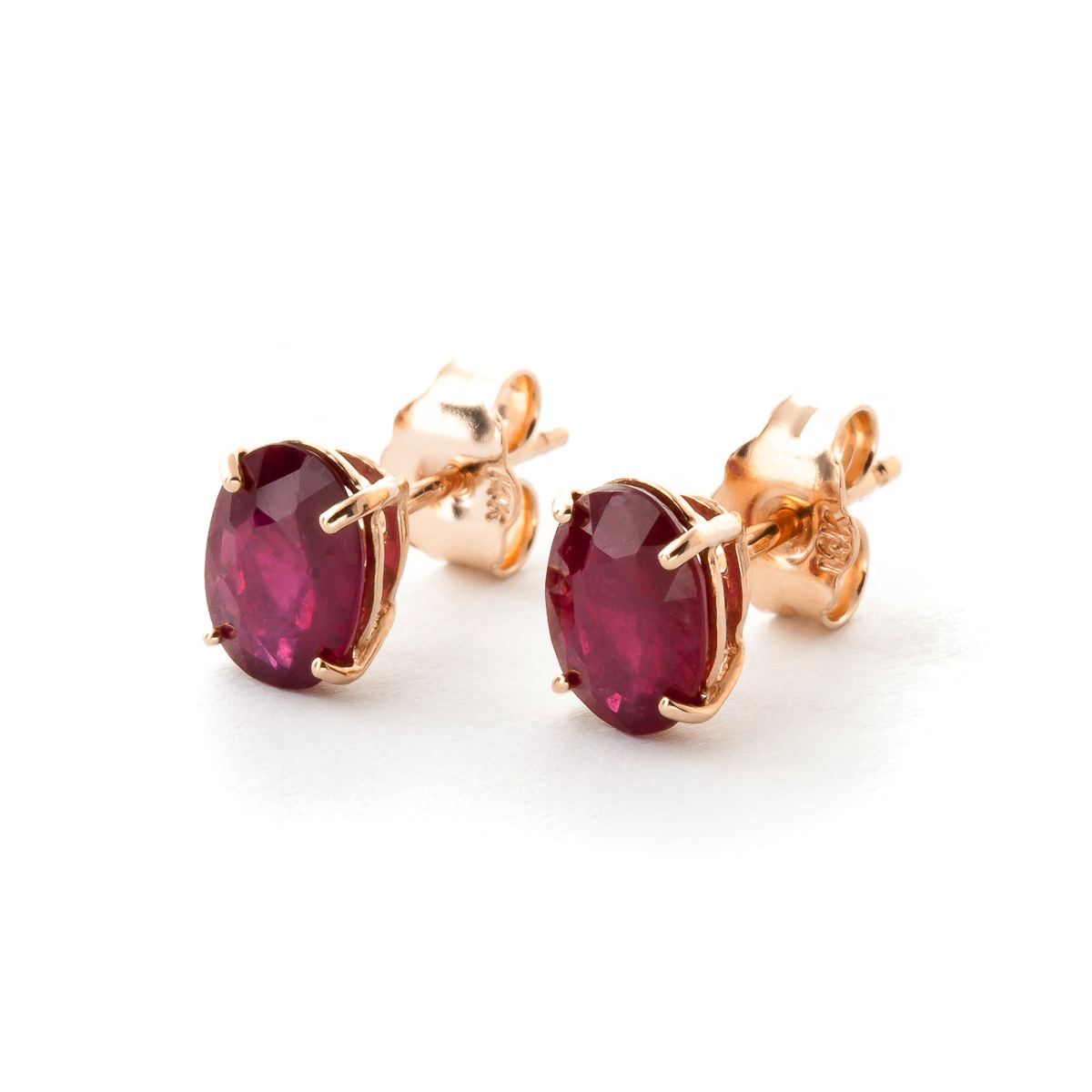 Ruby Stud Earrings 1.8 ctw in 9ct Rose Gold