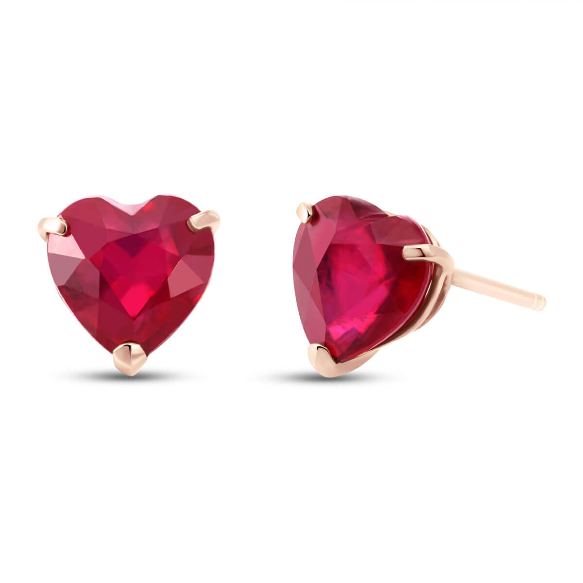 Ruby Stud Earrings 2.9 ctw in 9ct Rose Gold