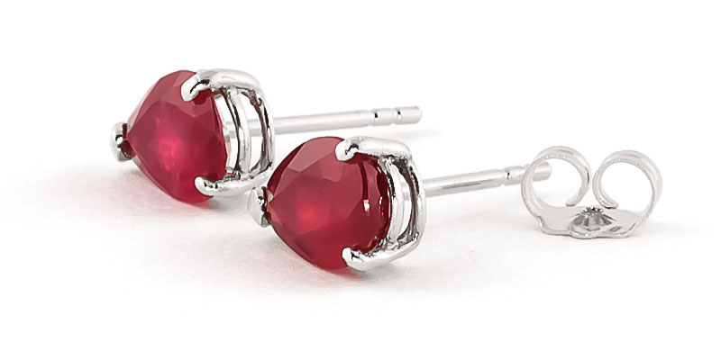 Ruby Stud Earrings 3.5 ctw in 9ct White Gold