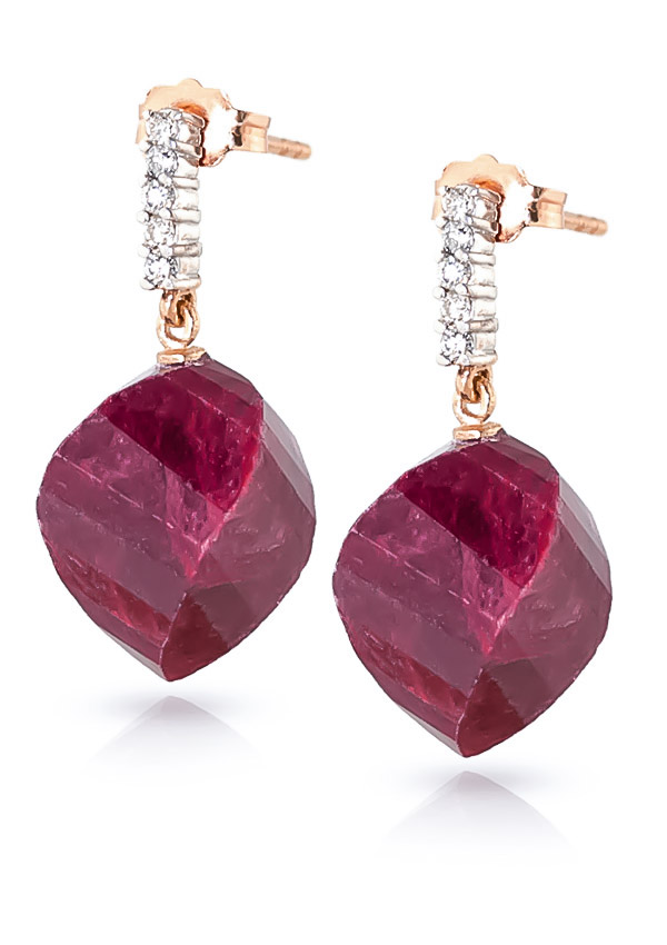 Ruby Stud Earrings 30.65 ctw in 9ct Rose Gold
