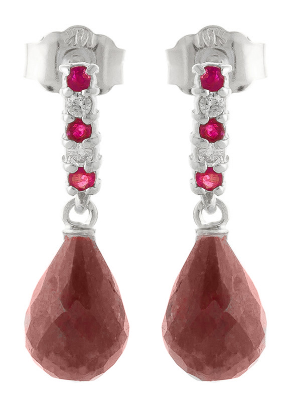 Ruby Stud Earrings 6.9 ctw in 9ct White Gold