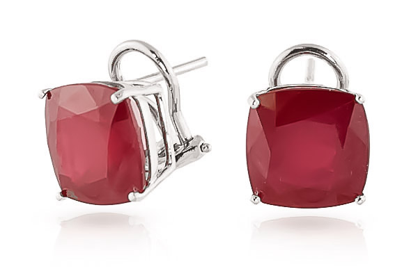 Ruby Stud Earrings 9.4 ctw in 9ct White Gold