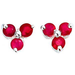 Ruby Trinity Stud Earrings 1.5 ctw in 9ct White Gold