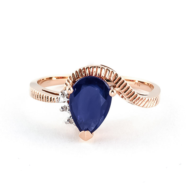Sapphire & Diamond Belle Ring in 9ct Rose Gold