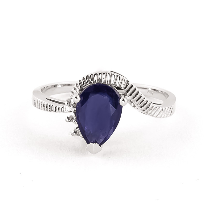 Sapphire & Diamond Belle Ring in 9ct White Gold