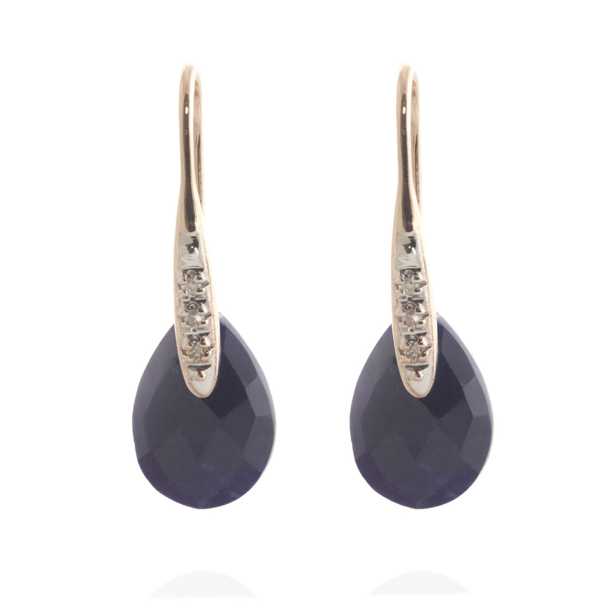Sapphire & Diamond Drop Earrings in 9ct Rose Gold