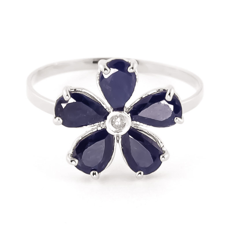 Sapphire & Diamond Five Petal Ring in Sterling Silver