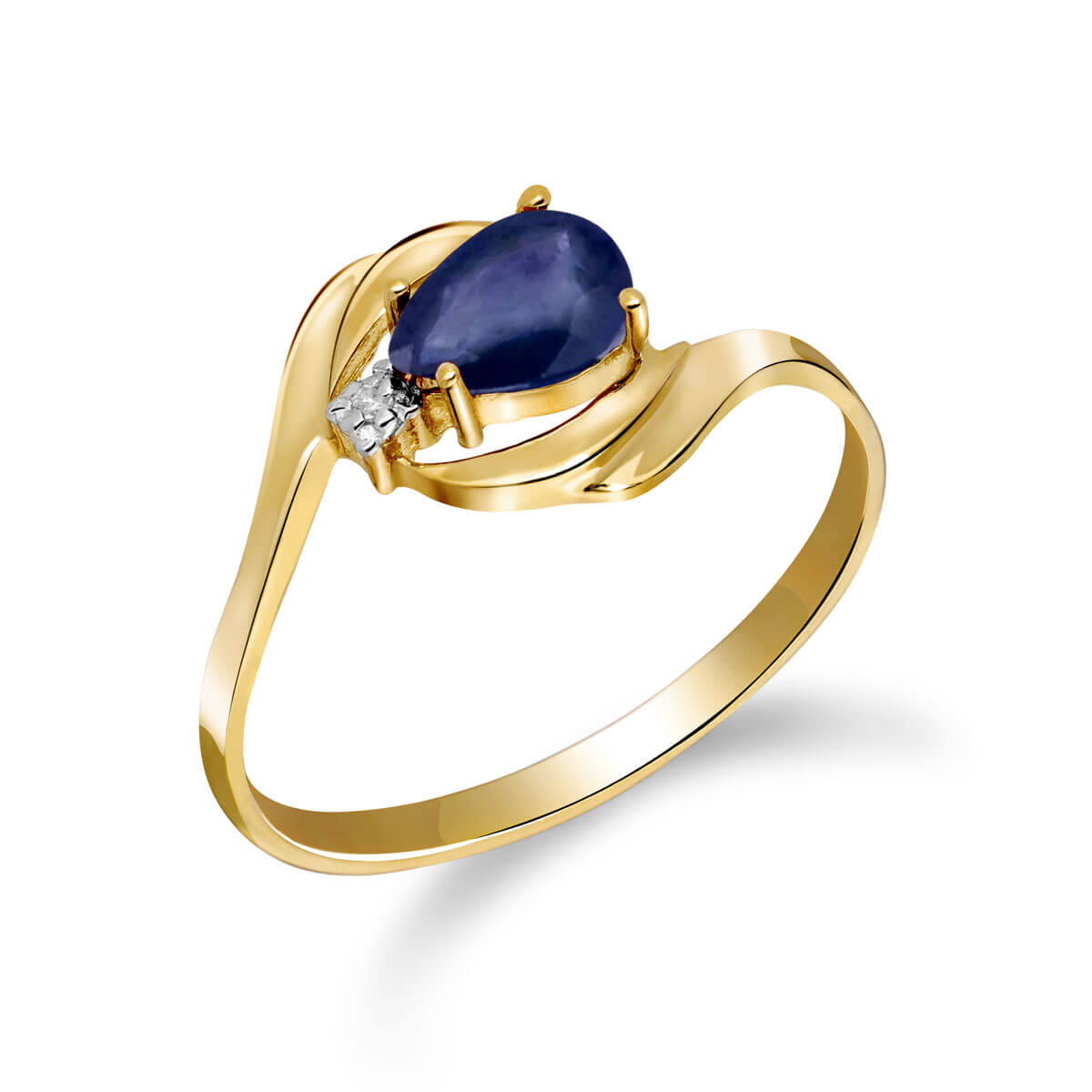 Sapphire & Diamond Flare Ring in 9ct Gold