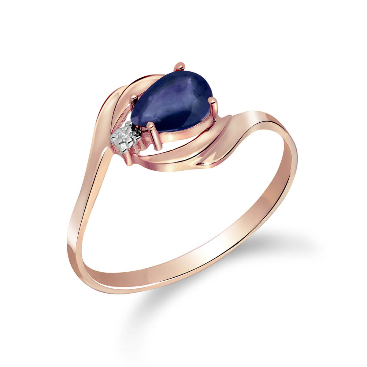 Sapphire & Diamond Flare Ring in 9ct Rose Gold