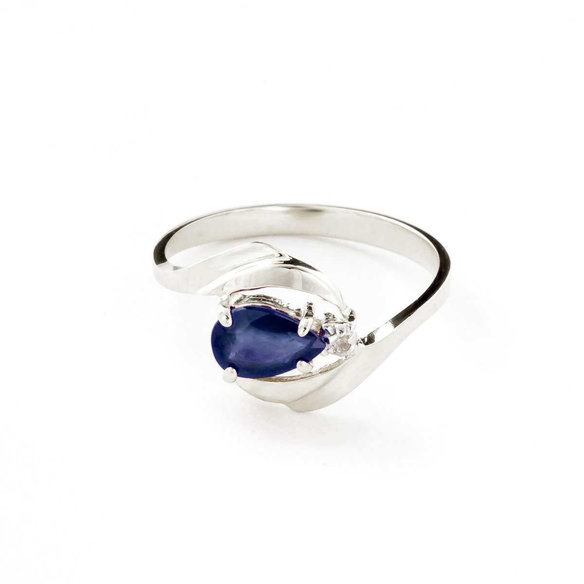 Sapphire & Diamond Flare Ring in Sterling Silver