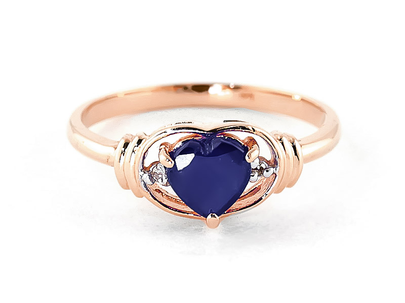Sapphire & Diamond Halo Heart Ring in 9ct Rose Gold